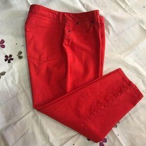 Red denim ankle curvy pants